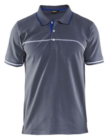 Blaklader 3389 Pique Polo Shirt (Grey/Cornflower Blue)